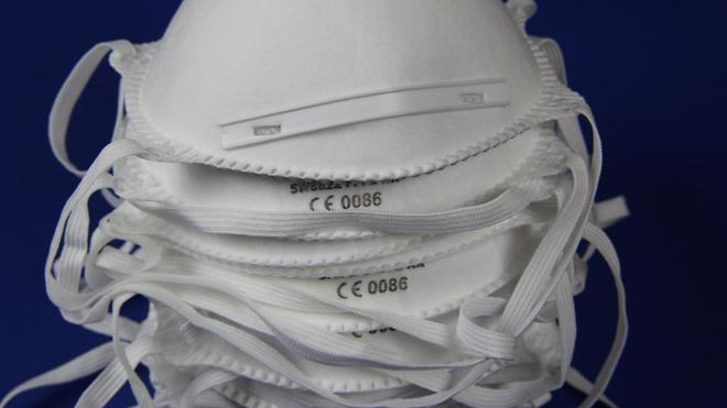 Une pile de masques FFP2 (photo d'illustration)