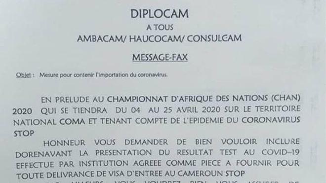 Le message du Ministère des Relations extérieures du Cameroun aux ambassades et consulats du pays