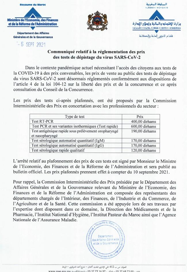 Le Maroc plafonne enfin le prix des tests du Covid-19